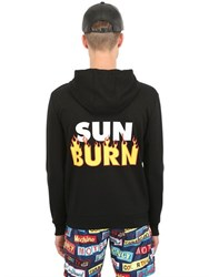Moschino Hooded Sun Burn Zip Up Cotton Sweatshirt