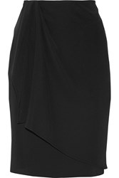 Baja East Asymmetric Wrap Effect Satin Backed Crepe Skirt Black