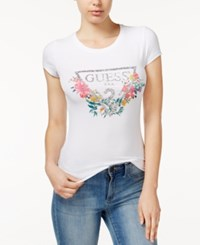Guess Glitter Detail Floral Graphic T Shirt True White