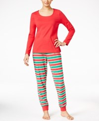 Family Pajamas Women's Holiday Stripe Knit Pajama Set Only At Macy's Red Green Stripe
