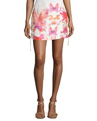 See By Chloe Watercolor Butterfly Lace Up Skirt Multi
