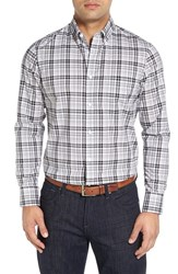 Nordstrom Men's Big And Tall Men's Shop Smartcare Tm Regular Fit Plaid Sport Shirt Grey Shade White Plaid