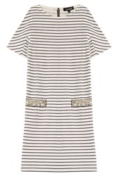 Tara Jarmon Striped Cotton Dress With Embellishment Stripes