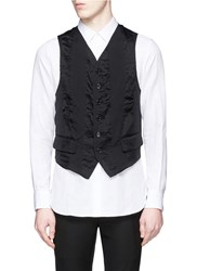 Ann Demeulemeester Sheer Back Cotton Silk Waistcoat Black