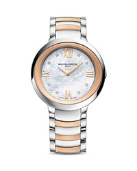 Baume And Mercier Promesse Diamond Two Tone Watch 34Mm White