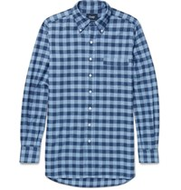 Drakes Drake's Slim Fit Buffalo Checked Cotton Flannel Shirt Blue