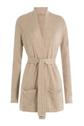 Closed Belted Cardigan With Wool And Cashmere Beige
