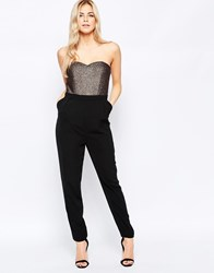 Girls On Film Bandeau Jumpsuit With Metallic Top Black