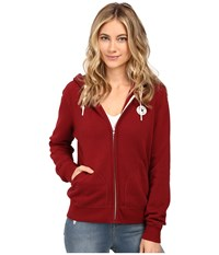 Converse Core Full Zip Fleece Hoodie Red Block Women's Sweatshirt