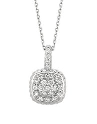 Morris And David 14K White Gold Diamond Square Pendant 0.51 Tcw