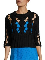 Dkny Chunky Merino Wool Open Cable Sweater Black