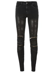Just Cavalli Skinny Fit Zip Detail Shiny Jeans Black
