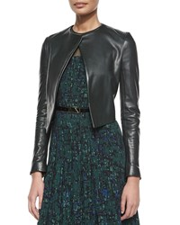 Jason Wu Open Front Cropped Leather Jacket Size 6 Green