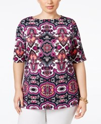 Charter Club Plus Size Medallion Print Boat Neck Top Only At Macy's Intrepid Blue Combo