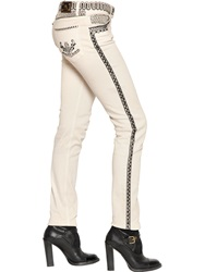 Etro Embroidered Stretch Cotton Denim Jeans Ivory