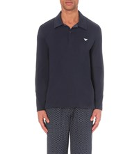 Emporio Armani Polo Shirt Cotton Pyjama Set Marine Cashmere