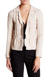 Nic Zoe Applique Squares Linen Blend Jacket Brown