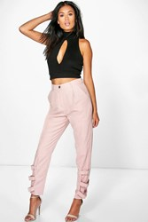 Boohoo Buckle Ankle Soft Touch Utility Trousers Blush