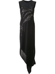 Narciso Rodriguez Sequined Asymmetric Dress Black