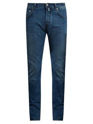 Jacob Cohen Tailored Slim Leg Stretch Denim Jeans Mid Blue