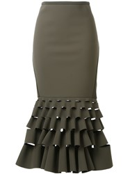 Dion Lee Slash Ruffle Skirt Green