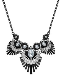Bar Iii Jet Tone Feather Crystal Statement Necklace