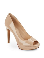 Vince Camuto Janeese Patent Leather Peep Toe Pumps Medium Beige