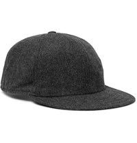 Borsalino Herringbone Virgin Wool Blend Baseball Cap Dark Gray