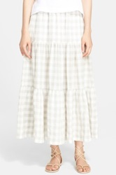 Eskandar Lightweight Gingham Petticoat Skirt White