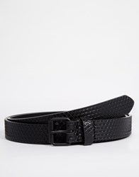 Asos Skinny Belt With Cross Hatch Emboss And Black Coated Buckle Black