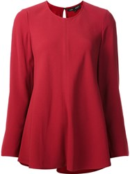 Proenza Schouler Long Sleeve Satin Top Red