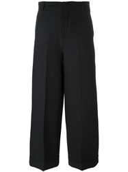 Pt01 Cropped Wide Leg Trousers Black