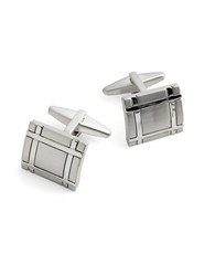 Kenneth Cole Reaction Square Crosshatched Cufflinks Silver