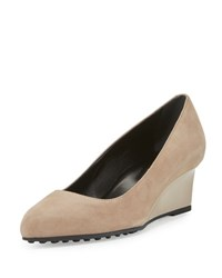 Tod's Suede 50Mm Wedge Pump Light Brown