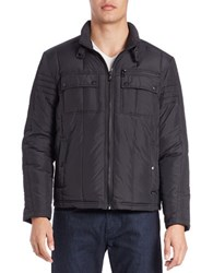 Kenneth Cole Quilted Zip Front Jacket Black