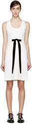 Proenza Schouler White Jacquard Velvet Bow Dress