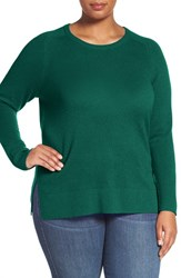 Halogenr Plus Size Women's Halogen Cashmere Crewneck Sweater Teal Green