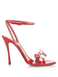 Tabitha Simmons Lynn Daisy Embellished Leather Sandals Red White