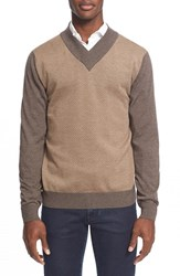 Men's Big And Tall Canali Dot Jacquard V Neck Wool Sweater Brown