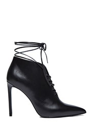 Saint Laurent Paris 105 Laceu Lace Up Stiletto Boots Black