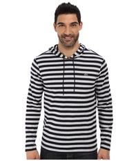 Lacoste Long Sleeve Hooded Stripe Tee Shirt Navy Blue Silver Chine Men's Long Sleeve Pullover Black