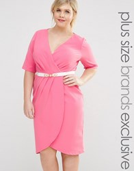 Paper Dolls Plus 1 2 Sleeve Wrap Front Pencil Dress With Belt Pink