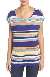 Women's Gibson Cold Shoulder Stripe Tee Yellow Multi Stripe