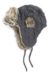 Women's Nirvanna Designs Cable Knit Ear Flap Hat With Faux Fur Trim Grey Smoke