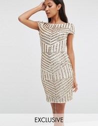 Tfnc Cap Sleeve Midi Dress In Patterned Sequin Gold