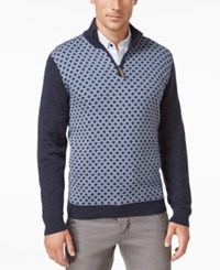 Tasso Elba Men's Big And Tall Pattern Quarter Zip Sweater Only At Macy's Inky Night Heather