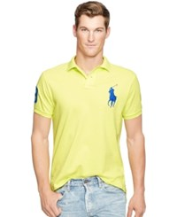 Polo Ralph Lauren Men's Custom Fit Big Pony Mesh Shirt Neon Yellow
