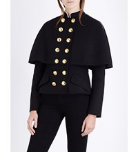 Burberry Military Cape Style Wool Blend Jacket Black