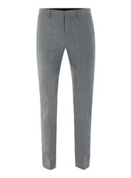 Topman Light Blue Chambray Ultra Skinny Fit Suit Trousers Mid Grey