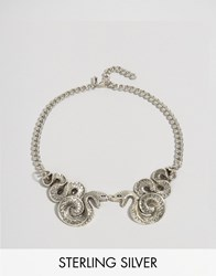 Regal Rose Halloween Malice Double Snake Collar Necklace Silver